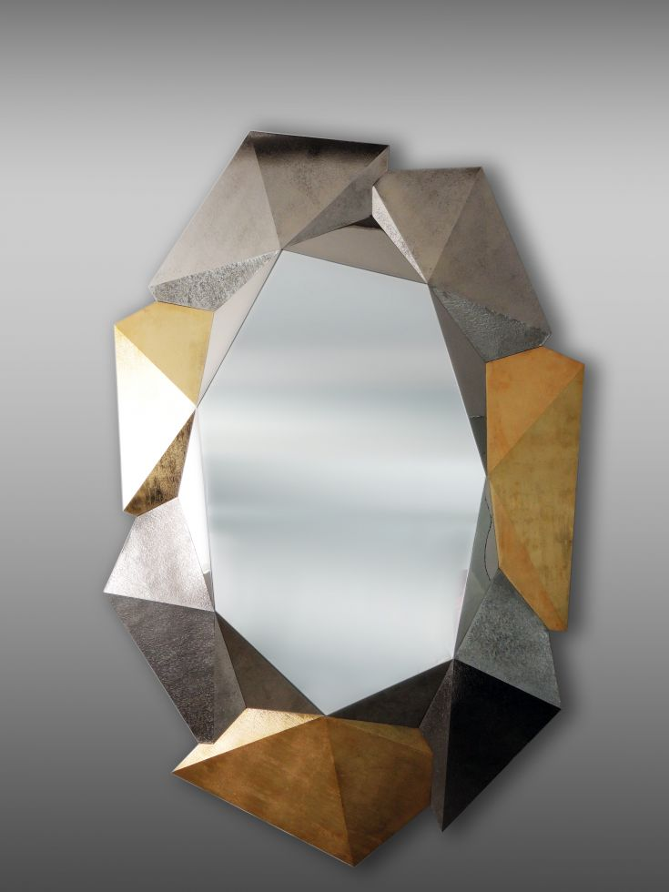 Crystal Mirror with Textures in Gold and Nickel Plated Metal 175 cm height x 112 cm width. 69 Inches height x 44 Inches width Limited edition of 8 pieces.