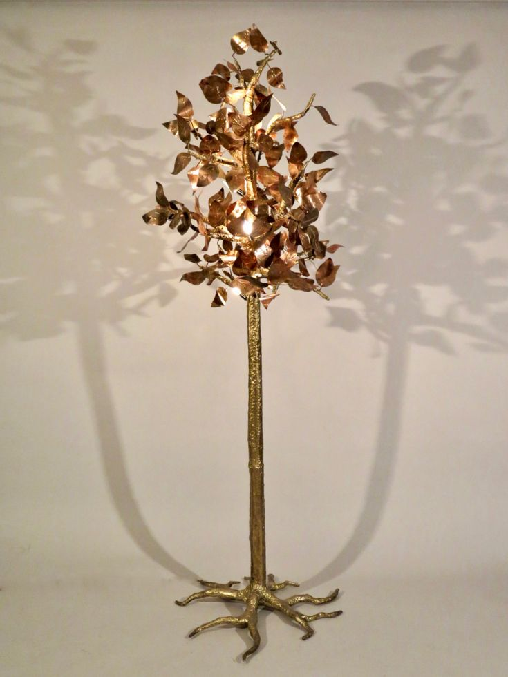 Sculptural illuminated tree in brass and copper. Jacques Duval Brasseur. c 1975. France 2